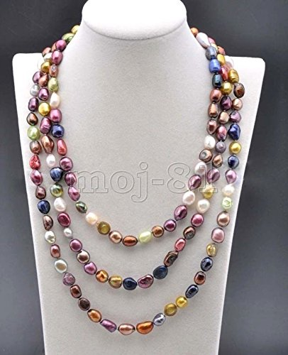 - Genuine 8-9MM Natural Multicolor Freshwater Cultured Pearl Necklace 48'' Long