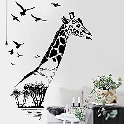 Zrdmn Wall Sticker Draw Giraffe Creative Wall Painting Giraffe