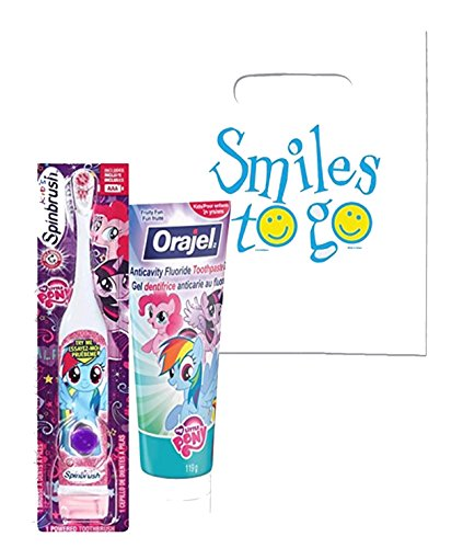 My Little Pony 2pc Bright Smile Oral Hygiene Bundle! Turbo Powered Toothbrush & MLP Fluoride Toothpaste! Plus Dental Gift & Remember to Brush Visual Aid!
