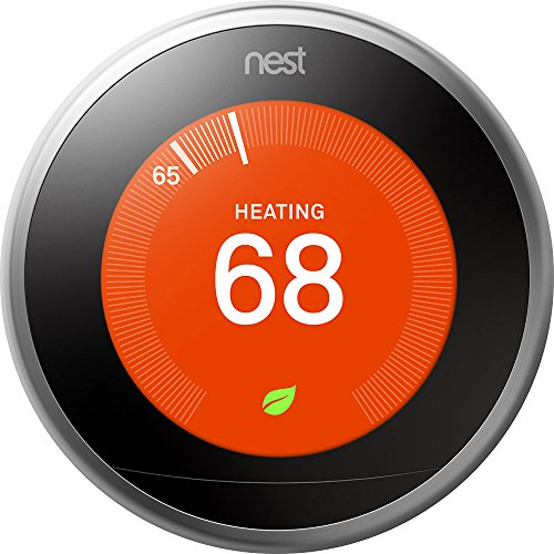 Bulb Wall Four 1 - Nest (T3007ES) Learning Thermostat, Easy Temperature Control for Every Room in Your House, Stainless Steel (Third Generation), Works with Alexa, Small