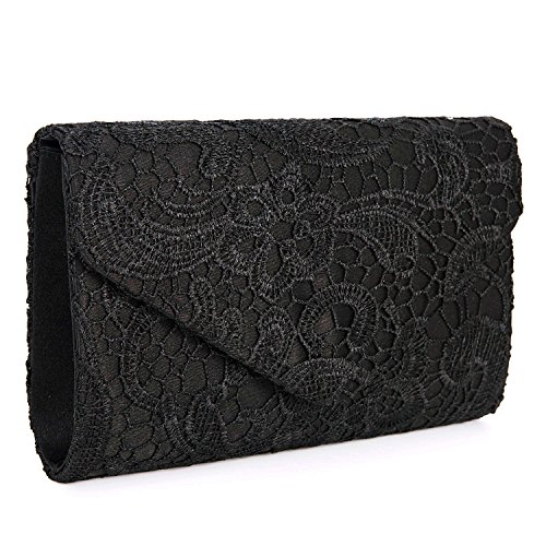 Chichitop Women's Elegant Floral Lace Envelope Clutch Evening Prom Handbag Purse, Black by Chichitop