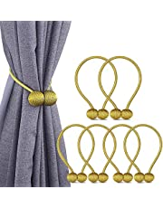 6 Pack European Style Magnetic Woven Texture Rope Curtain Tiebacks, The Most Convenient Drape Tie Backs,Decorative Weave Rope Holdback Holder for Window Sheer Blackout Drapries Office, 16 Inch