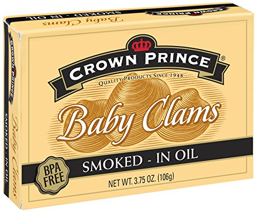 Crown Prince Smoked Baby Clams in Oil, 3.75-Ounce Cans (Pack of 12)