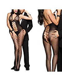 Sexy Queen Size Plus Size Open Back Halter Fishnet Scale Top Bodystockings