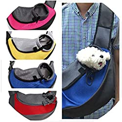 HuaHua-Store Pet Cat Puppy Small Animal Dog Sling Front Mesh Travel Tote Shoulder Bag Backpack Sl,Fuchsia,L