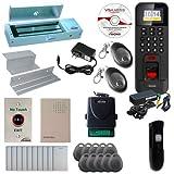 Visionis FPC-5733 1 Door Access Control Time Attendance for Inswing Door 1200lbs Maglock, WIFI, TCP/IP Wiegand Outdoor Waterproof Biometric Fingerprint Reader with Software, Wireless Receiver PIR Kit