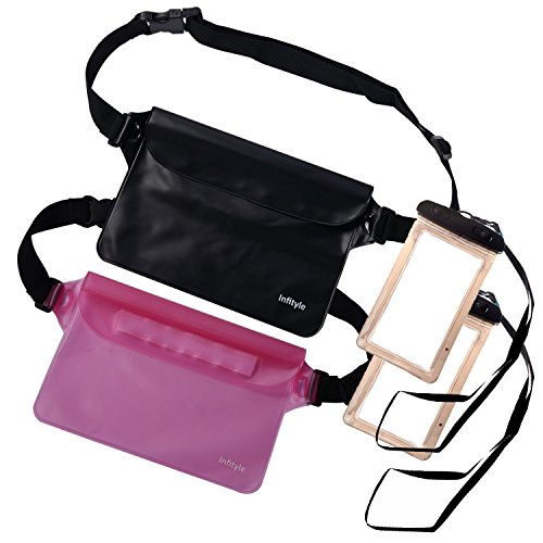 Waterproof Pouches - Dry Bags With Waist Strap For Beach Swimming Boating Kayaking Fishing Hiking - Free Phone Case - Black+Pink