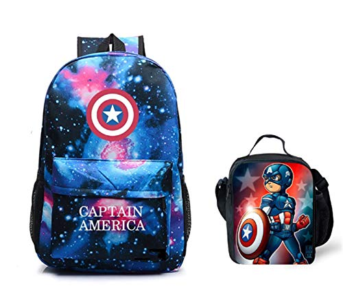 f80dc0724761 Col-92 Captain America Backpack and Lunch Bag Set-Marvel Avengers School  Backpack-Insulated Lunch Bag