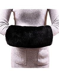 Soft Faux Fur Hand Muffs Women Faux Fur Muffs Hand Warmmers (Black)