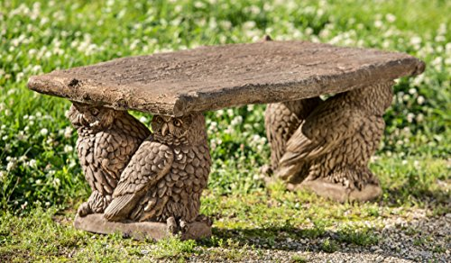 Campania International BE-124-BR Owl Bench, Brown Stone Finish price