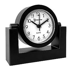 Timekeeper Desktop Swivel Clock for Desk | Shelf | Tabletop, Black Frame w/White Face,
