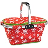 DII Insulated Market Basket or Picnic Tote, Perfect for Holidays Parties, Farmers Markets, BBQ's, Grocery Shopping, Potlucks, To Go Lunches, Craft/Dish Storage & Monogramming - Snowflakes