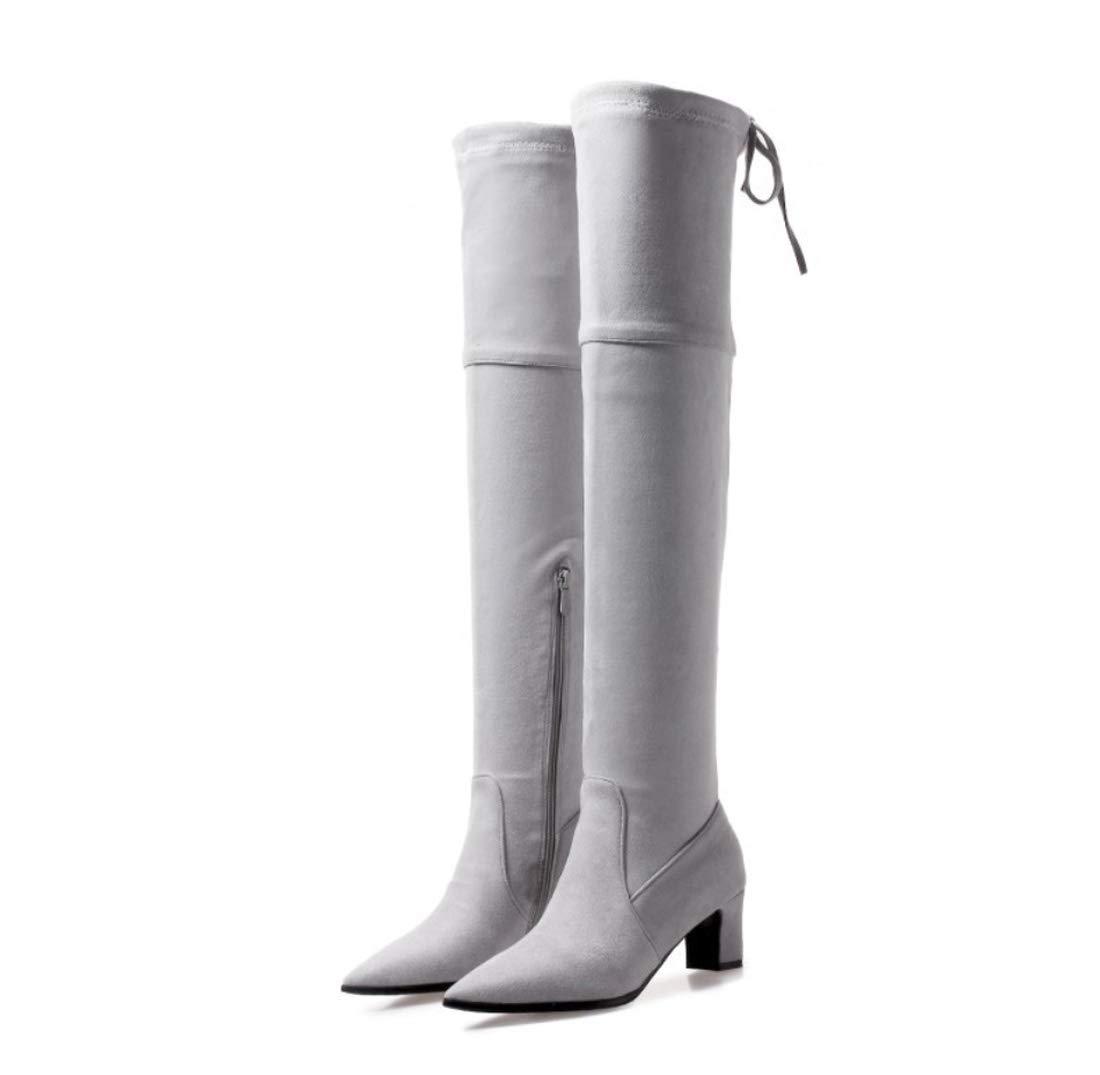 DANDANJIE Damen Stiefel Stretch Overknee Stiefel Chunky Heel 2018 Herbst Winter Schuhe