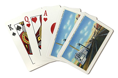 Galesburg, Illinois - Denver Zephyr Train at Station - Vintage Halftone (Playing Card Deck - 52 Card Poker Size with Jokers)