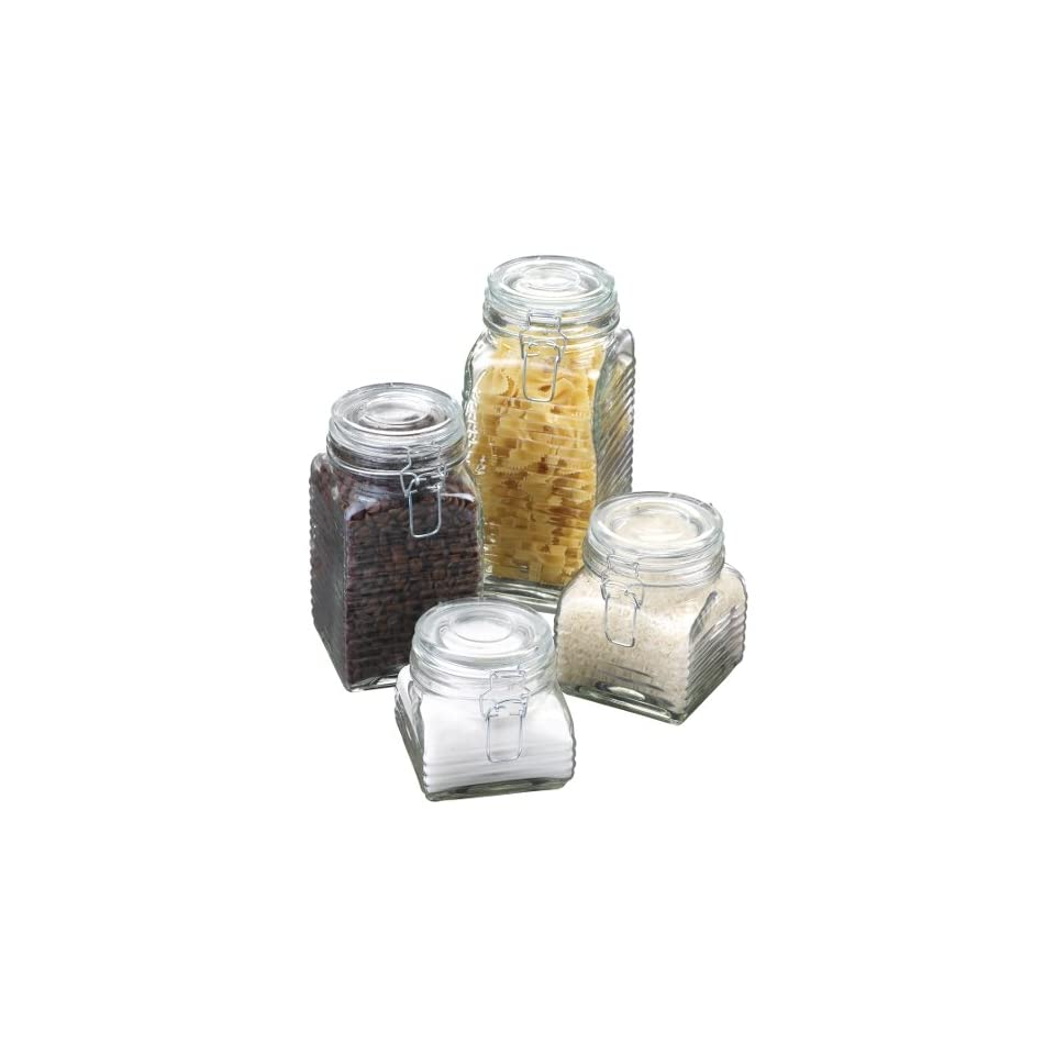 Anchor Hocking Glass Canister Set, 4 Jars, Clamp Lids