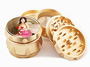 "Asian Girl Design Premium Grade Aluminum Tobacco,Herb Grinder -4Pcs Large (2.5"" Gold) # GLD-G121114-0030"