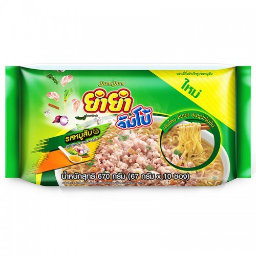 [Yum Yum Jumbo Instant Noodles Minced Pork 67 G. Pack 10] (Toddler Fried Egg Costume)