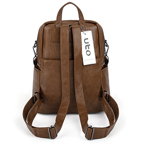 UTO Women Backpack Purse PU Washed Leather Convertible Ladies Rucksack Zipper Pockets Earphone Hole Shoulder Bag Brown by UTO (Image #4)