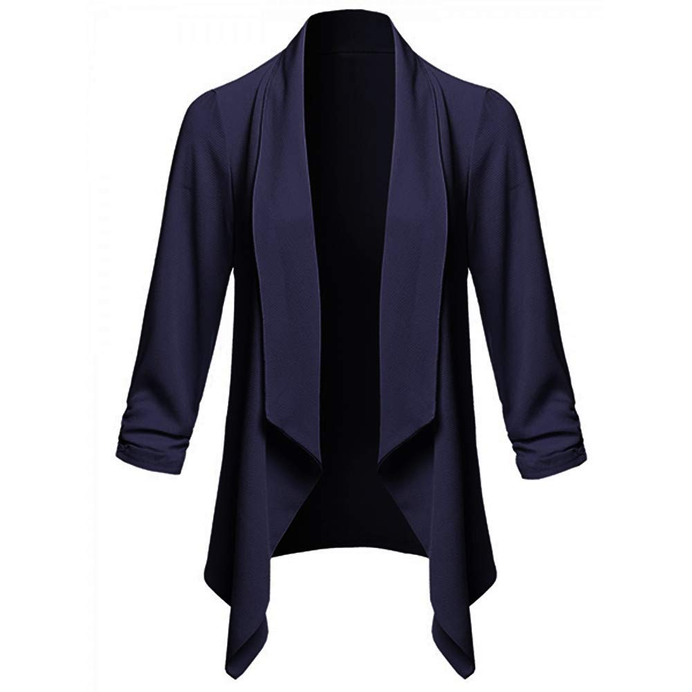 Yuxikong Womens Solid Open Front Cardigan Long Sleeve Blazer Casual Work Jacket Coat for Women (Navy, S)
