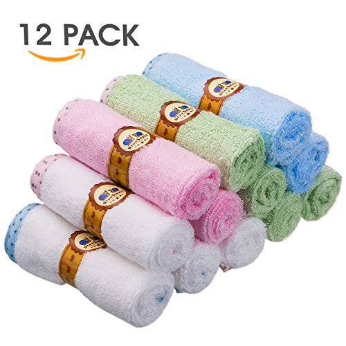 Baby Ultra Soft Bamboo Washcloths and Wipes for Boys and Girls 12 Pack by BlueSnail