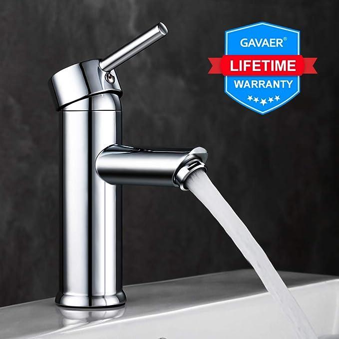 GAVAER Waschtischarmatur,Wasserhahn bad Moderner Stil Wunderschöne Design,Keramikventil,Kaltes und Heißes Wasser Vorhanden,Me