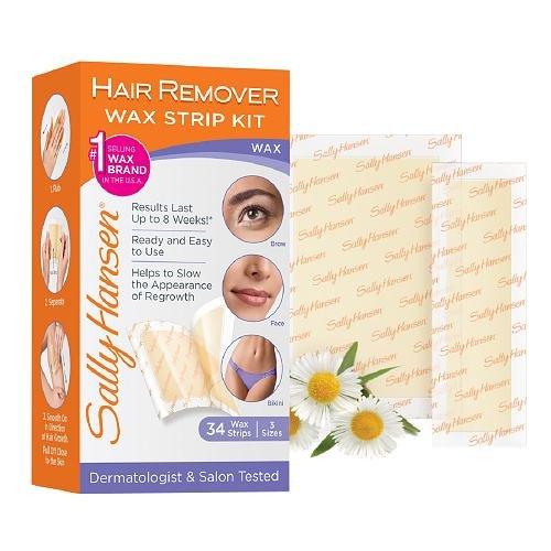 Sally Hansen Hair Remover Wax Strip Kit BroWith Face/Bikini (3 Pack)