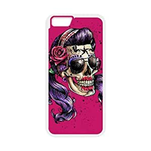 Diy Colorful Sugar Skull Phone Case for iphone 6 Plus (5.5 inch) White Shell Phone JFLIFE(TM) [Pattern-1] hjbrhga1544