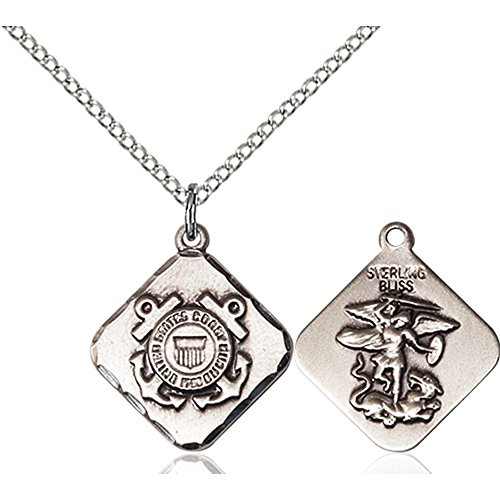 Sterling Silver COAST GUARD DIAMOND Pendant 3/4 x 5/8 inches with 18 inch Sterling Silver Curb Chain