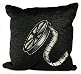 Stargate Decorative Home Theater Cinema Film Movie Reel Theme Polyester and Cotton Square Throw Pillows, 17 x 17 Inch, Black
