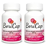 2 Pack - BoriCap Boric Acid Vaginal Suppositories   60 Total Count, 600mg   Capsules Size 00   No Fillers or Artificial Colors   Gynecologist Instructions Included   Made in the USA