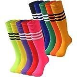 Image of Tube Socks Stripe, saounisi Unisex Knee High Football Soccer Team Socks 2/6/10 Pairs