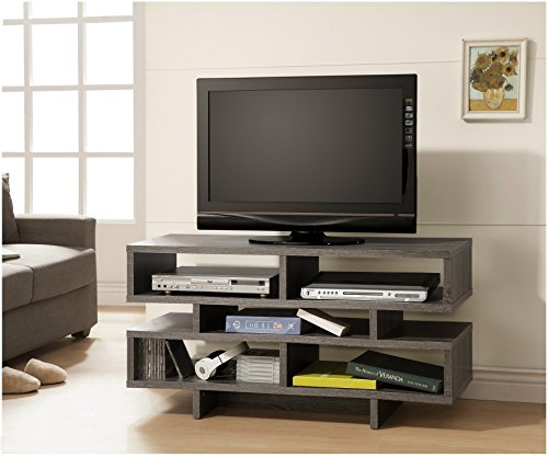 Weathered Grey Reclaimed-Look TV Console Entertainment Stand with Shelves