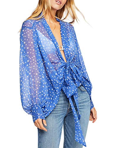 Women's Tie Front Long Sleeve Sheer Shrug Lightweight Thin Cardigan Summer Jacket Wrap (S, Blue)
