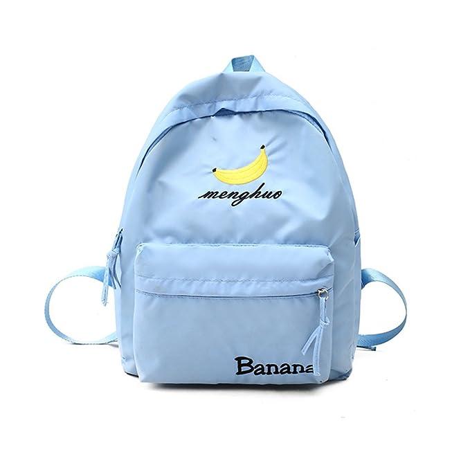 kaoling Moda lindo frutas fresa bordado mujeres mochilas mochilas escolares para adolescentes bolso de las señoras de muy buen gusto Blue L30 W11 H38cm: ...