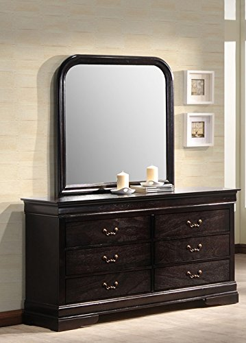 Best Quality Furniture B81DM Dresser and Mirror, Six Drawer, ()