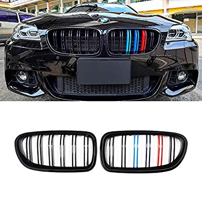SNA M Color F10 Grille, Front Kidney Grill for 2010-2016 BMW 5 Series F10 F11 And F10 M5 (Double Slats Gloss Black Grill, 2-pc Set): Automotive