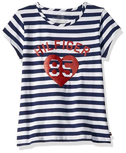 Tommy Hilfiger Big Girls' Stripe Tee Shirt, Heart Navy, S7