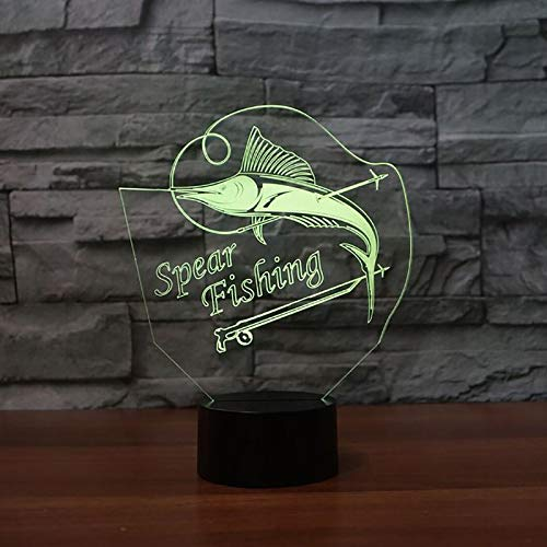 Acryl Speer Angeln 3D Nachtlicht Led Bunte Farbverlauf Usb Marlin Fisch Tisch Schreibtischlampe Wohnkultur Schlaf Beleuchtung Kinder Geschenke