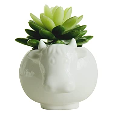 GeLive Succulent Plants Pot Animal Planter White Cow Ceramic Flower Pot Home Decoration Vase