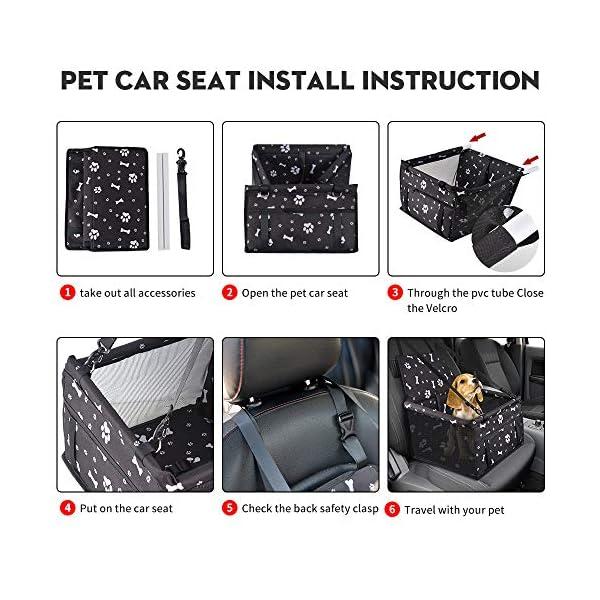 51EtdG2A5PL SWIHELP Hunde Autositz Wasserdicht Atmungsaktiv Haustier-Auto-Matte Sicherheit Haustier Auto Booster Waschbar…