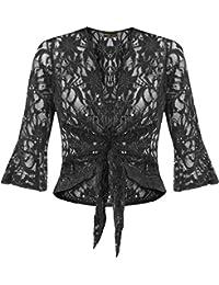 Women's Plus Size Tie Up 3/4 Flared Sleeve Bolero Top