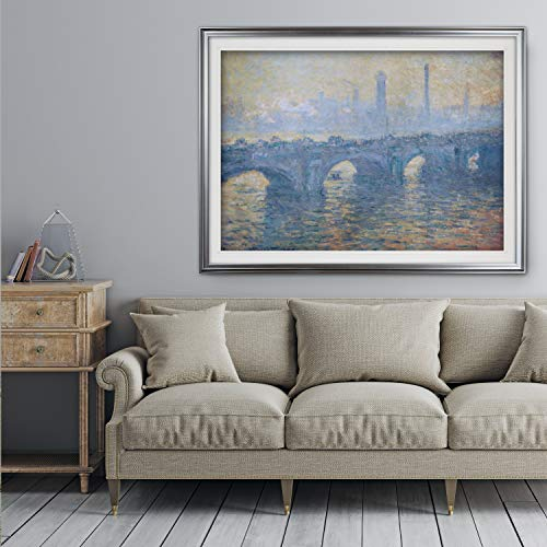 WEXFORD HOME Waterloo-Bridge -Claude Monet - Premium Framed Print Gold - Claude Monet Waterloo Bridge