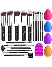 BESTOPE Makeup Brush Set 16 Pcs & 4 Makeup Sponges & 1 Brush Cleaner, Professional Makeup Brushes Beauty Blender Sponge Kit for Full Face Foundation Blending Kabuki Blush Concealer Eyeshadow Lip (Black Silver)