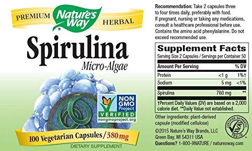 Natures Way Spirulina Micro Algae Capsule, 380 Mg, 100 per pack - 3 packs per case.