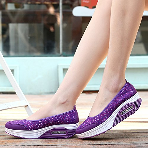 Enllerviid Mujer Slip-on Toning Walking Zapatos Zapatillas De Deporte Con Plataforma De Encaje Floral 2966 Purple