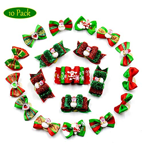 Yu-Xiang 10 Pack Pet Christmas Hair Accessories Cat Head Flower Dog Headwear for Hamster Rabbit