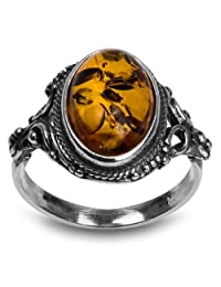Sterling Silver Amber Oval Ring