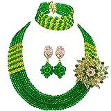 laanc African Nigerian Beads Popular 5 Rows Womens Crystal Bridal Wedding Jewelry Sets