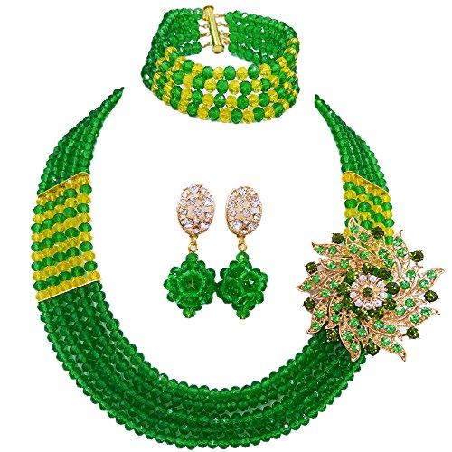 Green Bead Clip Earrings - laanc African Nigerian Beads Popular 5 Rows Womens Crystal Bridal Wedding Jewelry Sets