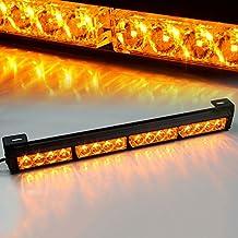 "Xprite 18"" Yellow/Amber 16 LED 7 Modes Traffic Advisor Emergency Warning Vehicle Strobe Light Bar Kit"